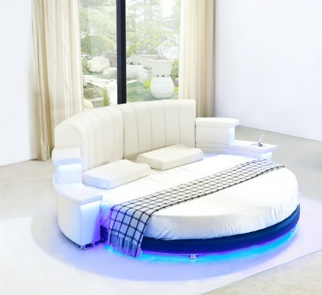 Modern Round Leather Bed White with Led Lights