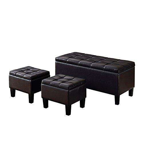 3-Piece Storage Ottoman Black Leather