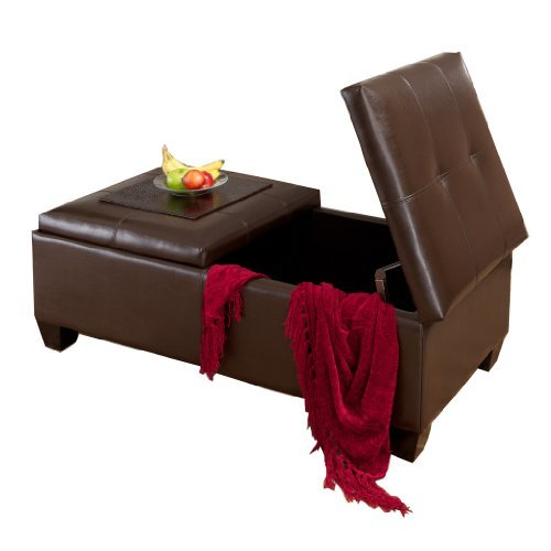 Brown Leather Storage Ottoman