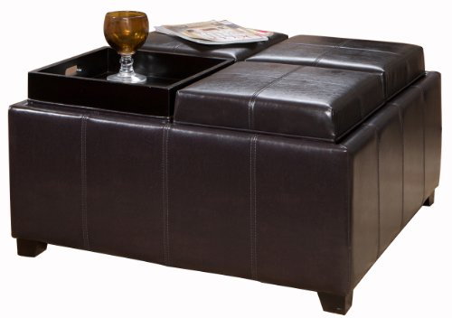 Four Sectioned Espresso Leather Cube Storage Ottoman