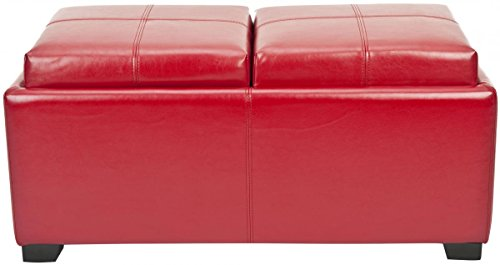 RED Leather Double Tray Ottoman