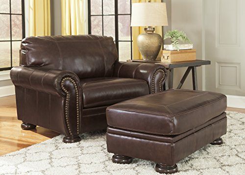 High-quality Leather Chair and a Half With Ottoman