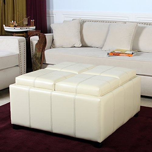 Ivory Leather Cube Storage Ottoman