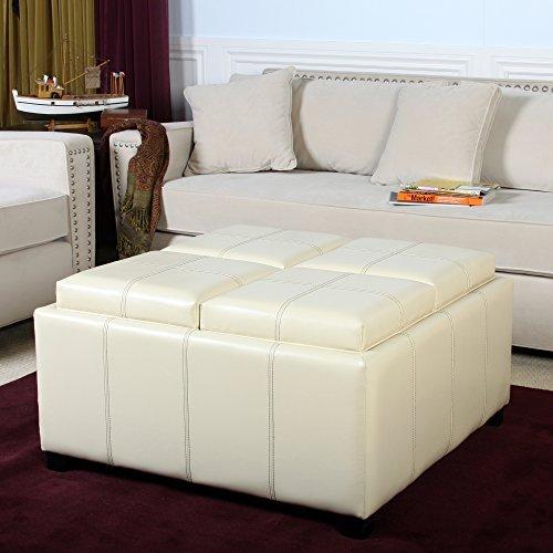 Ivory Leather Cube Storage Ottoman