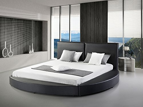 Modern Black Leatherette Queen Size Platform Round Bed
