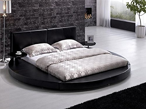Modern Black Leather Headboard Round Bed