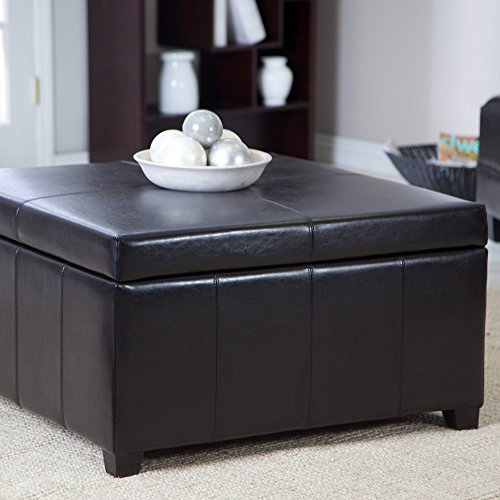 Large Black Leather Storage Ottoman