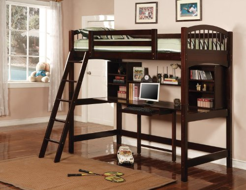 Wood Loft Bed with Desk
