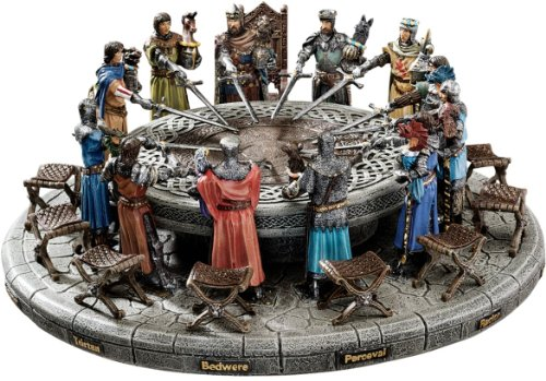 Medieval King Arthur and Knights of Round Table Statue