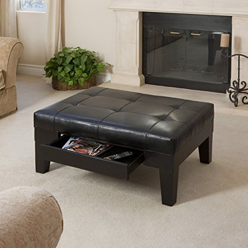 Espresso Leather Tufted Top Coffee Table w/ Drawer