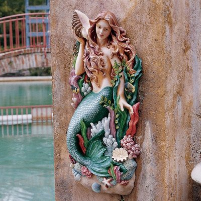 Colorful Mermaid Wall Statue