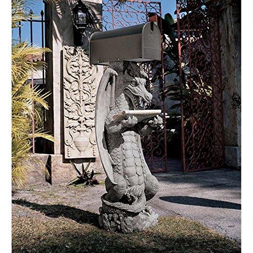 Medieval Dragon Garden Statue Mail Post