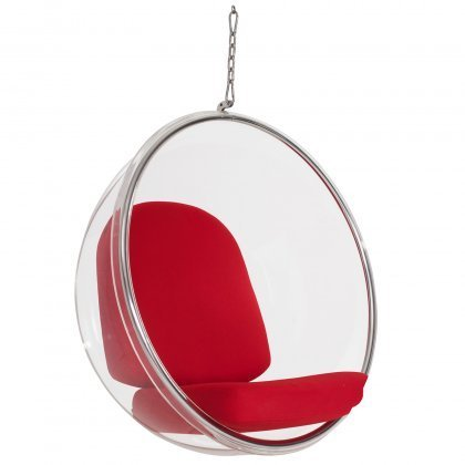 Hanging Bubble Chair with Red Cushions and Chain