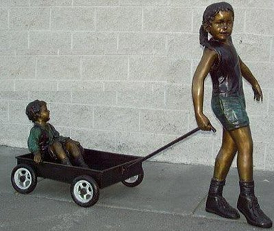 Sister Pulling the Wagon Solid Bronze Jumbo Size Statue