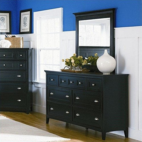 Double Dresser and Mirror Set in Black