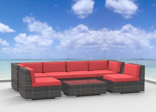 7 Piece Patio Furniture Sofa Sectional Couch Set