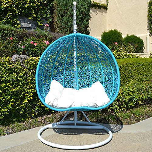 turquoise color 2 People Egg Shape Wicker Rattan Swing Lounge Chair