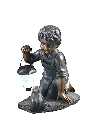 Cute Boy Statue with Solar Light and Frog