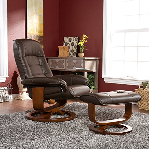 Comfortable Leather Recliner and Ottoman