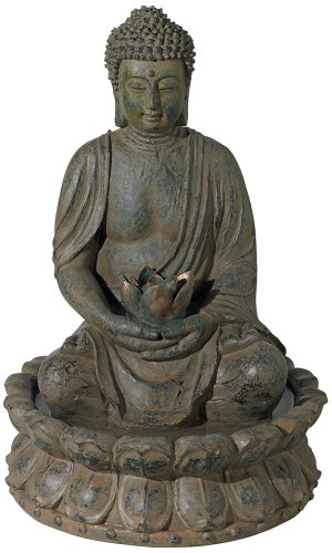 Meditating Buddha Antique Bronze Lighted Fountain