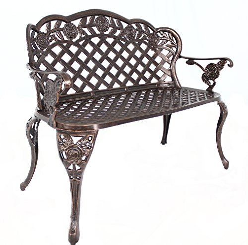 Floral Outdoor Patio Garden Bench Cast Aluminum