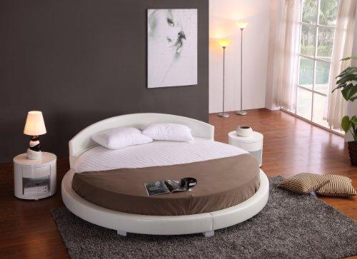 Round Modern Platform Bed White