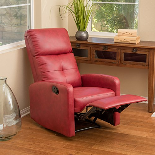 Red Leather Recliner Club Chair