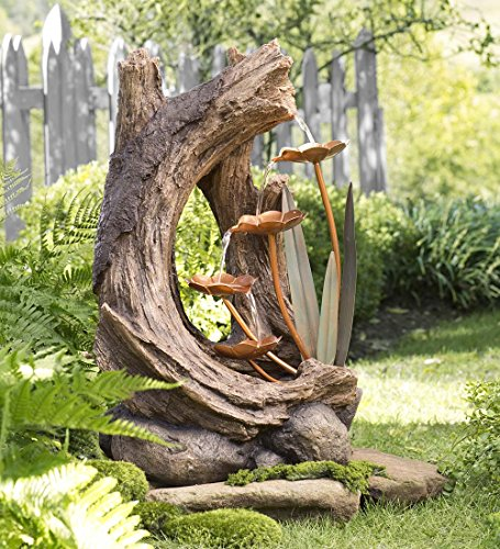 Tree Stump Fountain with Metal Flowers