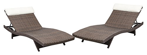 2-piece Brown Outdoor Wicker Recliners