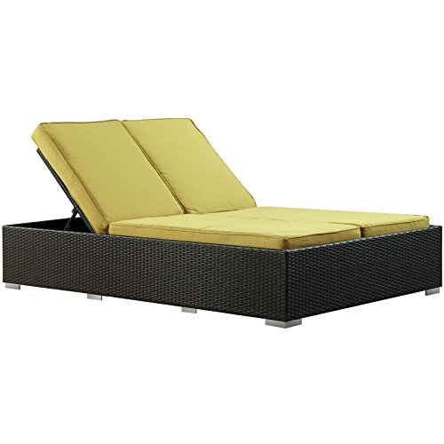 Outdoor Wicker Patio Chaise Recliner for two people
