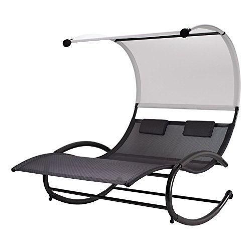 Double Chaise Rocker Patio Lounge Chairs