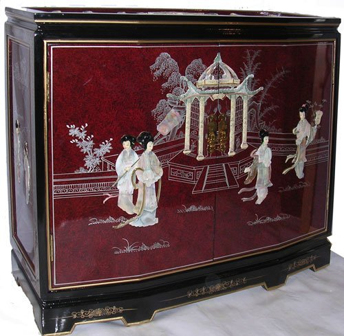 Oriental Red Cabinet with Mother of Pearl
