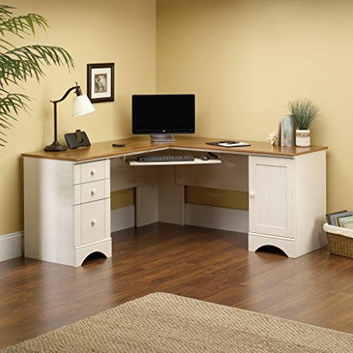 Corner Computer Desk, Antiqued White
