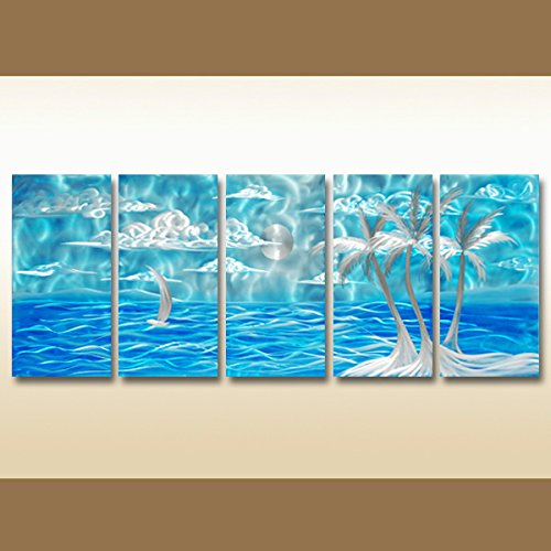 blue Seascape Wall Metal Art