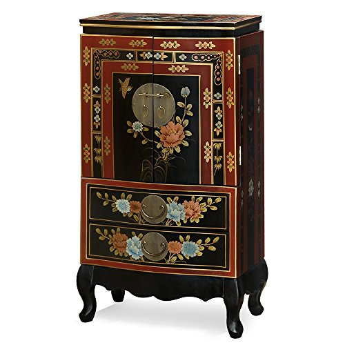 Tibetan Jewelry Armoire, Hand Painted Floral Motif