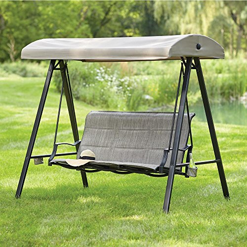 3-Person Padded Sling Outdoor Swing with Canopy
