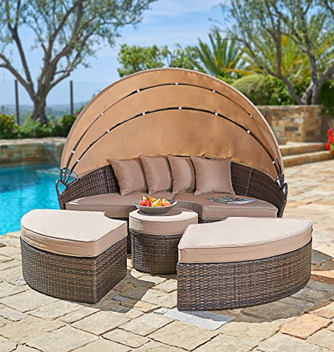 Round Daybed with Retractable Canopy