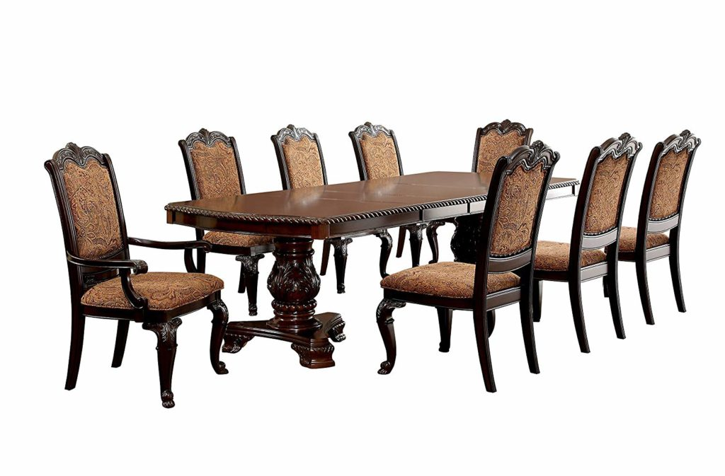 Antique Style 9 piece Elegant Dining Table Set