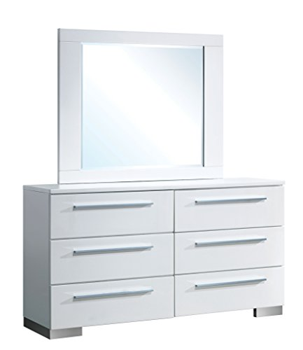 Modern Dresser and Mirror, White
