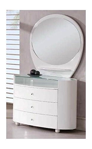 unique white dresser with oval mirror
