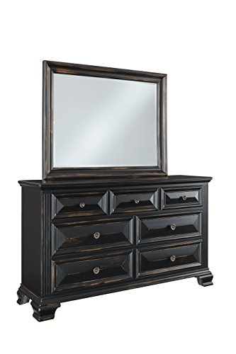 antique black dresser and mirror
