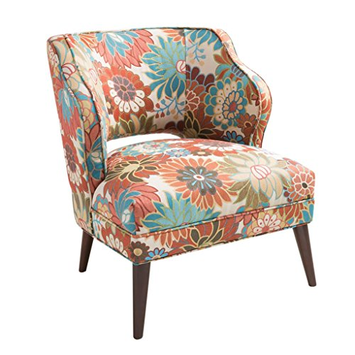 Blue and Orange Floral Print Upholstered Accent Armchair
