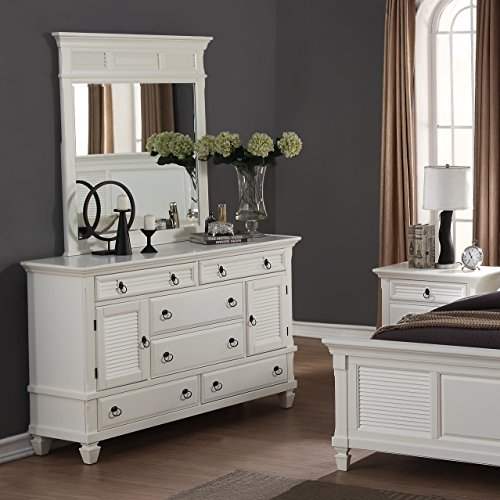 Cottage Style White Dresser and Mirror