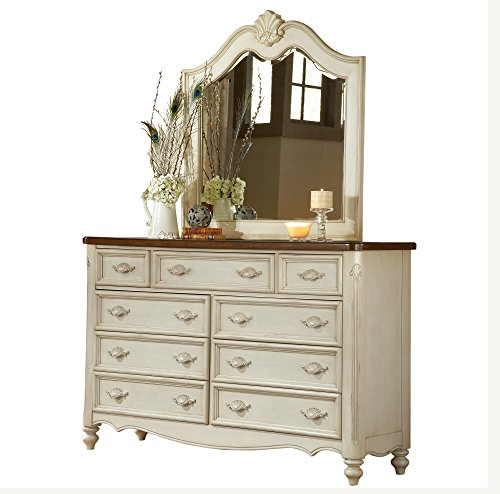 Antique White Dresser and Mirror Combo