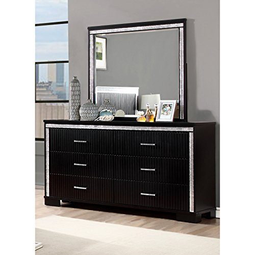 unique 2-Piece Black Dresser and Mirror Set