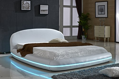modern white bed with LED light