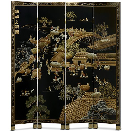 Hand Painted Chinese Courtyard Landscape Room Divider Black