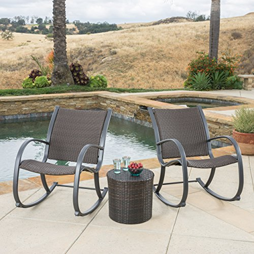 3pc Wicker Rocking Chair Set for porch