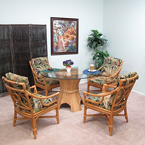 Rattan 5 Piece Dining Set (Honey finish)