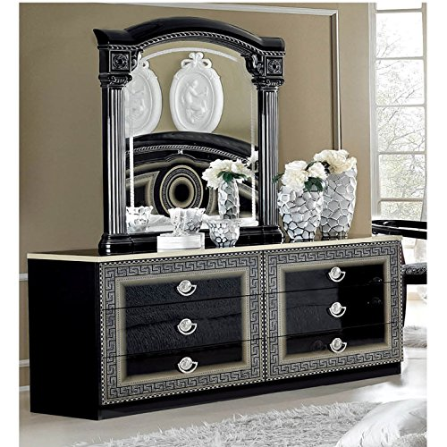 Black/Silver Dresser and Mirror